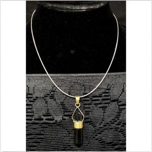 sterling silver necklace w/ black crystal pendent